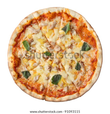 Pizza hawaiian isolated over white background. Top view.