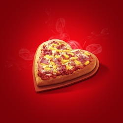 Pizza heart shaped and  on red background . Concept of romantic love for Valentines Day .