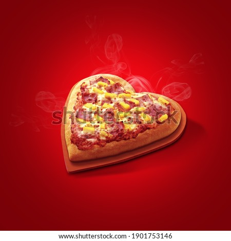 Pizza heart shaped and  on red background . Concept of romantic love for Valentines Day .  Foto stock ©