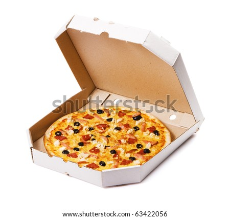 Pizza in a cardboard box, isolated on white