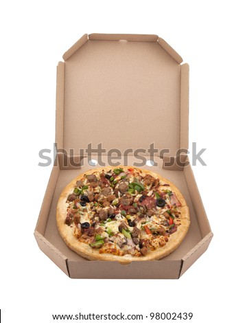 Pizza in a cardboard box with clipping path - stock photo