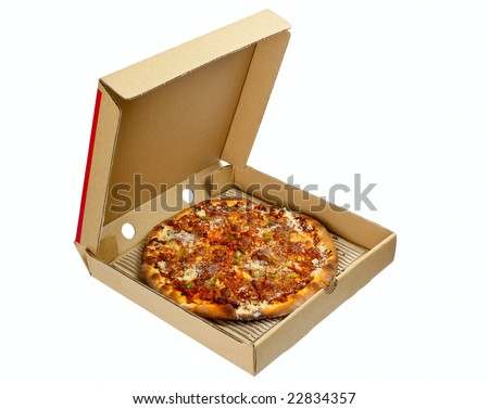 Pizza in a takeaway box isolated on white background