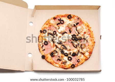 pizza in box on white #100032785