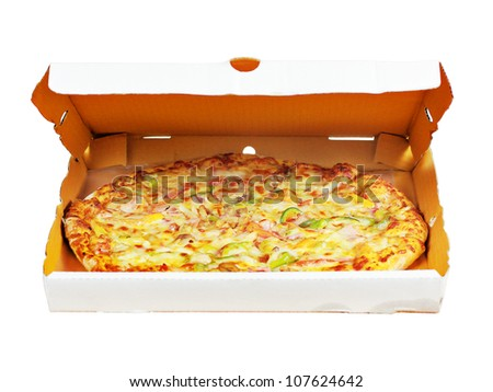 Pizza in box with clipping path