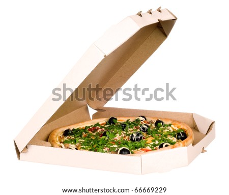 Pizza in carton box. Isolated on white background