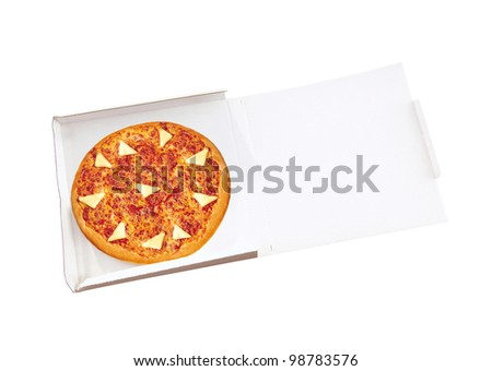 pizza in open paper box on white background