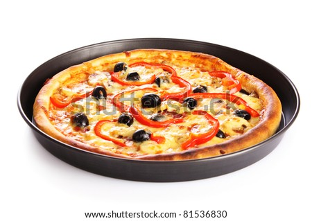 pizza in pan isolated on white