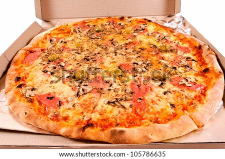 Pizza in the cardbox isolated on white