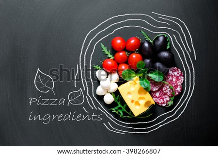 Pizza ingredients concept with a chalk drawing