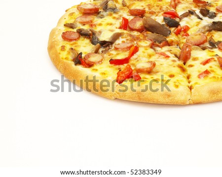 pizza isolated in white with some copy-space