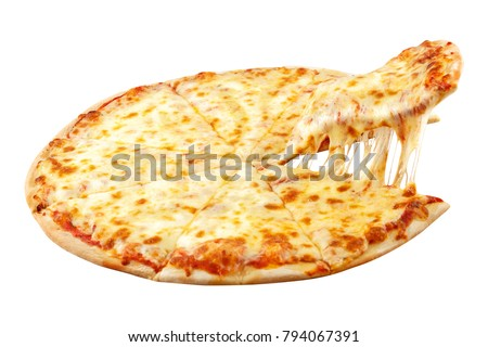 Pizza Margarita with mozzarella cheese, basil and tomato, template for your design and menu of restaurant, on isolated white background