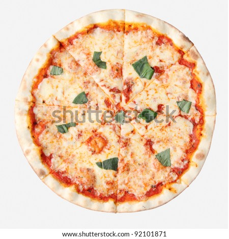 Pizza margherita isolated over white background. Top view.
