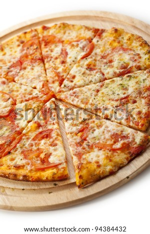 Pizza Margherita made with Tomatoes, Gauda Cheese and Mozzarella