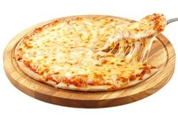 Pizza Margherita, mozzarella isolated on white background.