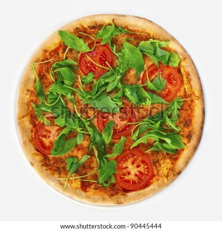 Pizza Margherita with arugula and slices of tomato