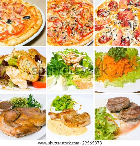 pizza, meat, salad and other food