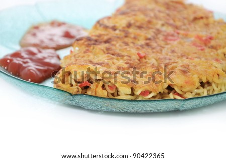 pizza noodles with tomato sauce and chili sauce, isolated on white background