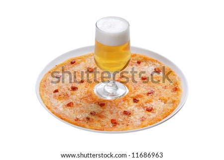 pizza on plate, beer in goblet, white background, isolated