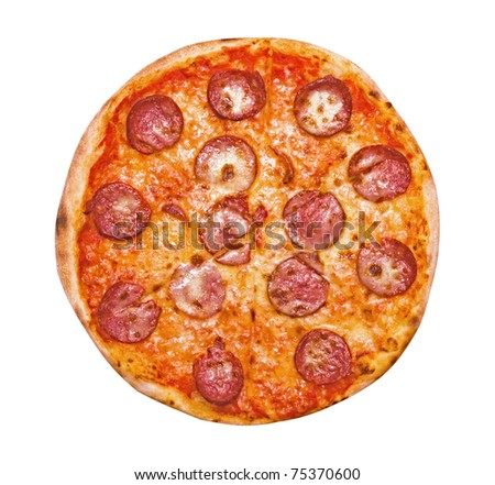 Pizza Pepperoni isolated on white