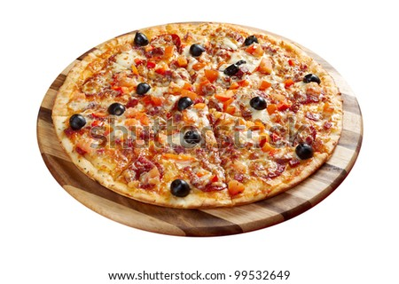 Pizza Pepperoni .italian kitchen. Studio - stock photo