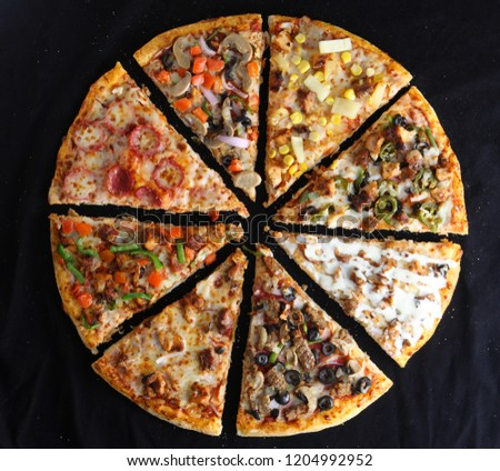 Pizza Photos Slice multiple flavours 8 flavours #1204992952