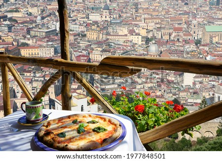 Pizza place terrace with Naples view, Italy Stock fotó ©