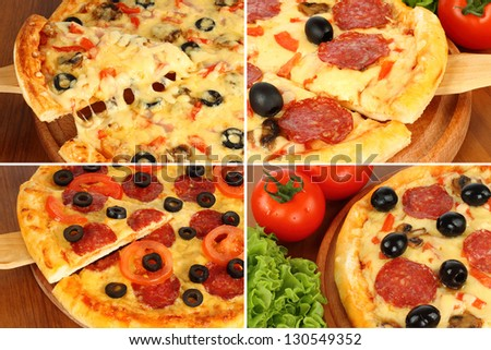 Pizza set on wooden paddle