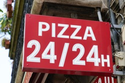 Pizza Sign open all day hours 24/24 store logo front restaurant italian