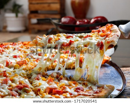 Pizza slice melted cheese food