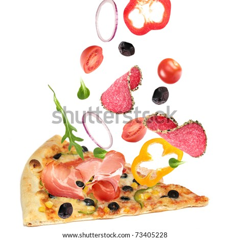 Pizza slice with ingredients in the air
