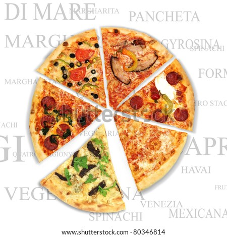 Pizza with a text background