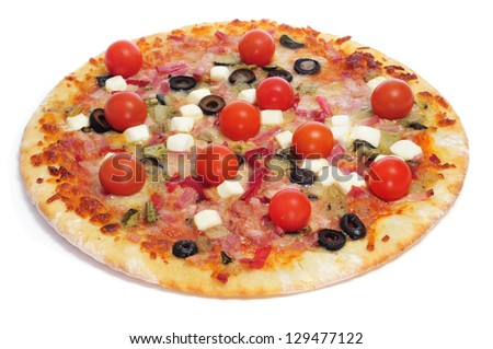 pizza with bacon, olives, cherry tomatoes, goat cheese, green pepper and eggplant, on a white background