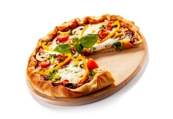 Pizza with broccoli and vegetables on white background