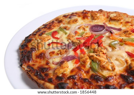 Pizza with Cajun Chicken topping isolated on white. Short DOF.