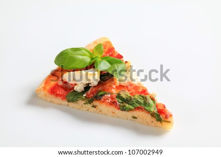 Pizza with cheese, bacon and spinach