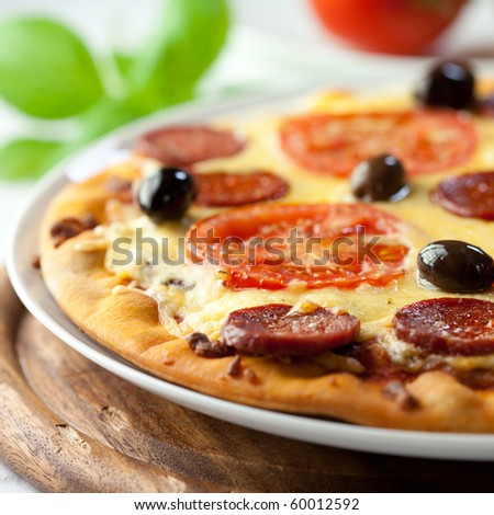 Pizza with chorizo salami