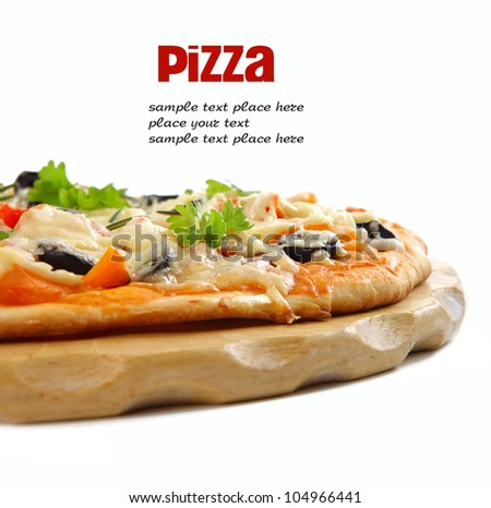 Pizza with ham, pepper and olives over white