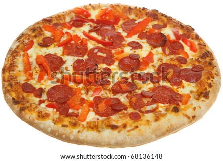 Pizza with pepperoni and red pepper.