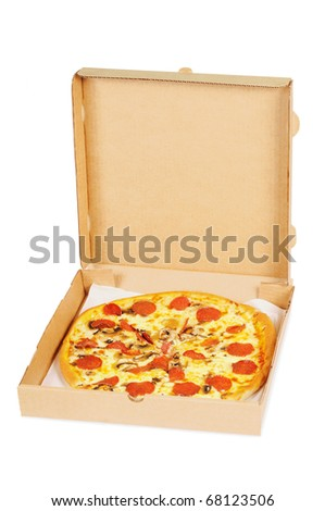 Pizza  with  pepperoni in a box. Isolated on white.