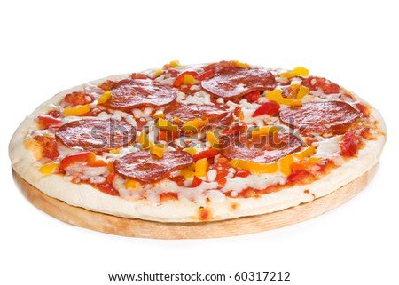 pizza with salami on white background