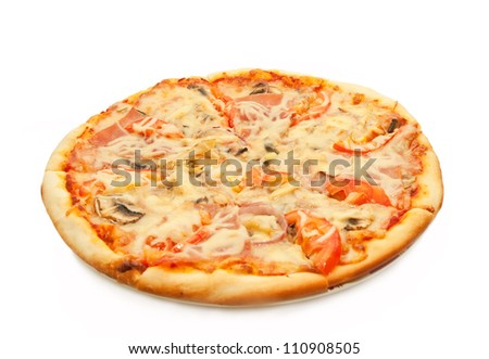 Pizza with salami, tomatoes and chicken isolated on white