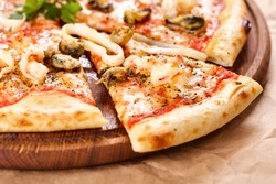 Pizza with seafood