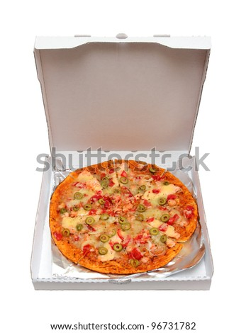 pizza with seafood and olives in box