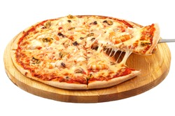 Pizza with seafood, mozzarella, mussels, octopus, squid, salmon, shrimp on an isolated white background.