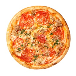Pizza with tomato slices, beef slices with cheese and fresh herbs overhead view isolated on white background.