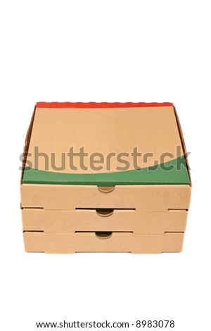 Pizzas cardboard boxes with soft shadow on white background