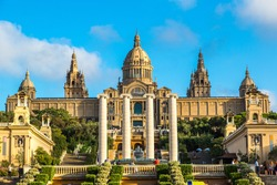 Placa de Ispania (The National Museum) in Barcelona, Spain in a summer day