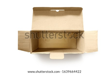 Place an empty, open, empty paper box on a white background.