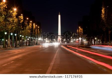 Place de la Concorde and  Obelisk of Luxor at Night, Paris, France