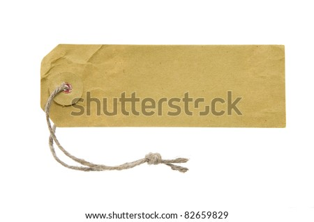 Place for writing made from grunge paper label with brown string